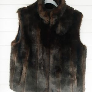 Giacca Gallery Company Dark Brown Faux Fur Vest XL